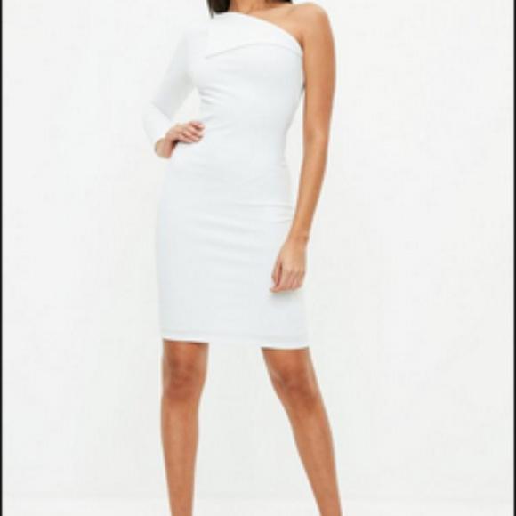 Missguided Dresses | Petite White Fold Over One Sleeve Dress | Poshmark